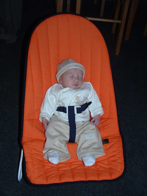 Isabel in her bouncer May 2005 aged 11 days.