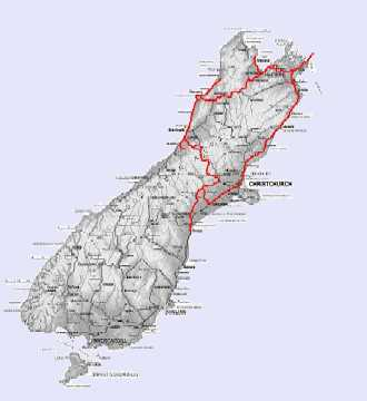South Island holiday route